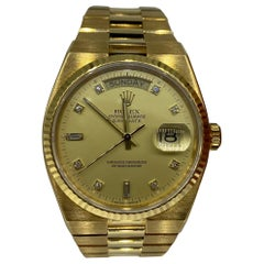 Vintage Rolex Day Date Factory Diamond Dial 18k Solid Gold Mint Condition, 1982