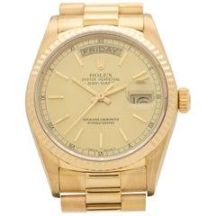 Vintage Rolex Day-Date President 18 Karat Yellow Gold Watch, 1986