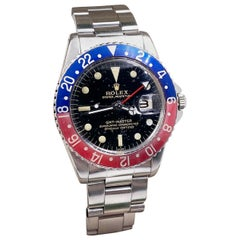 Vintage Rolex GMT Master 1675 Pepsi Stainless Steel Box Papers 1965