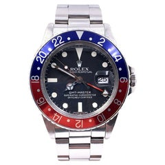 Vintage Rolex GMT Master 16750 Pepsi Red and Blue Stainless Unpolished, 1983