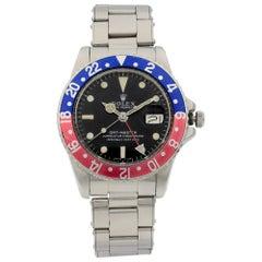 Vintage Rolex GMT-Master Pepsi Black Dial Automatic Men's Watch 1675