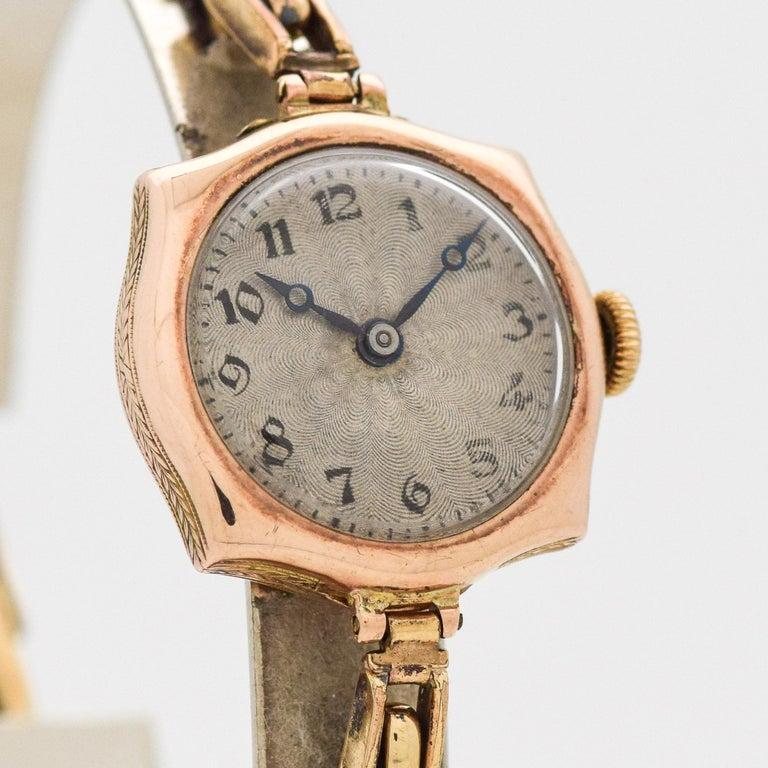 2f1b56a866d 1910's Vintage Rolex Ladies 9k Light Rose Gold Art Deco Design watch with  Original Sunburst Silver