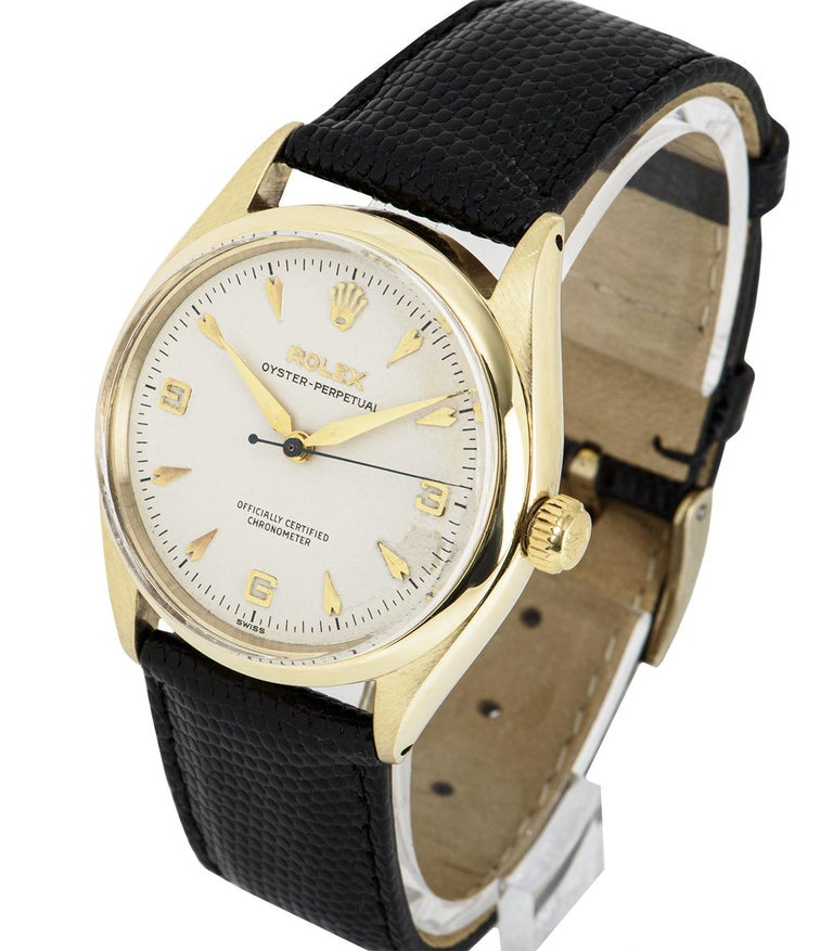 Vintage Rolex Oyster Perpetual 9k Yellow Gold 6564 Watch In Good Condition For Sale In London, GB