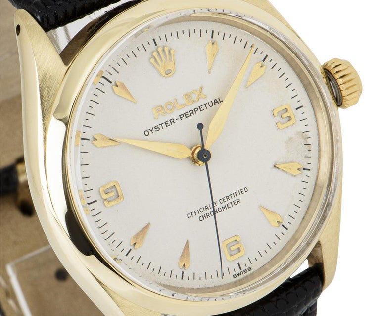 Men's Vintage Rolex Oyster Perpetual 9k Yellow Gold 6564 Watch For Sale