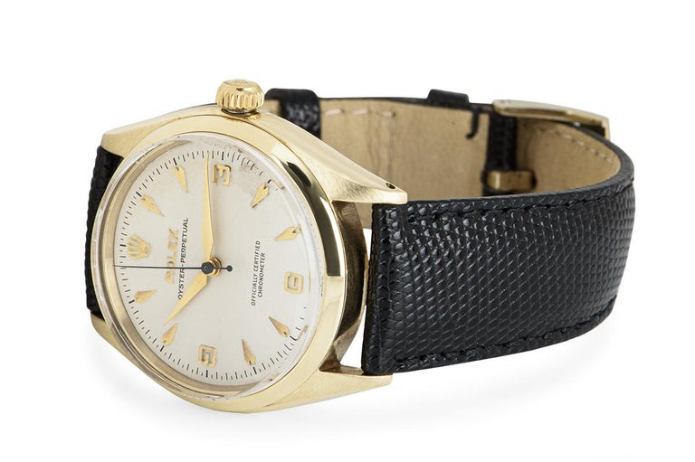 Vintage Rolex Oyster Perpetual 9k Yellow Gold 6564 Watch For Sale 1