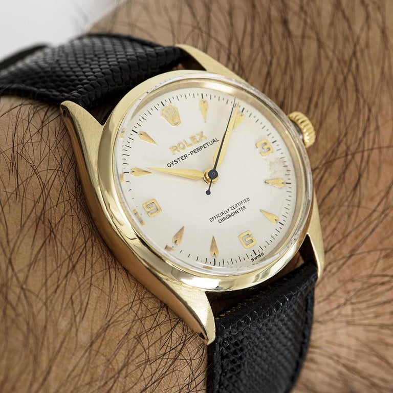 Vintage Rolex Oyster Perpetual 9k Yellow Gold 6564 Watch For Sale 3