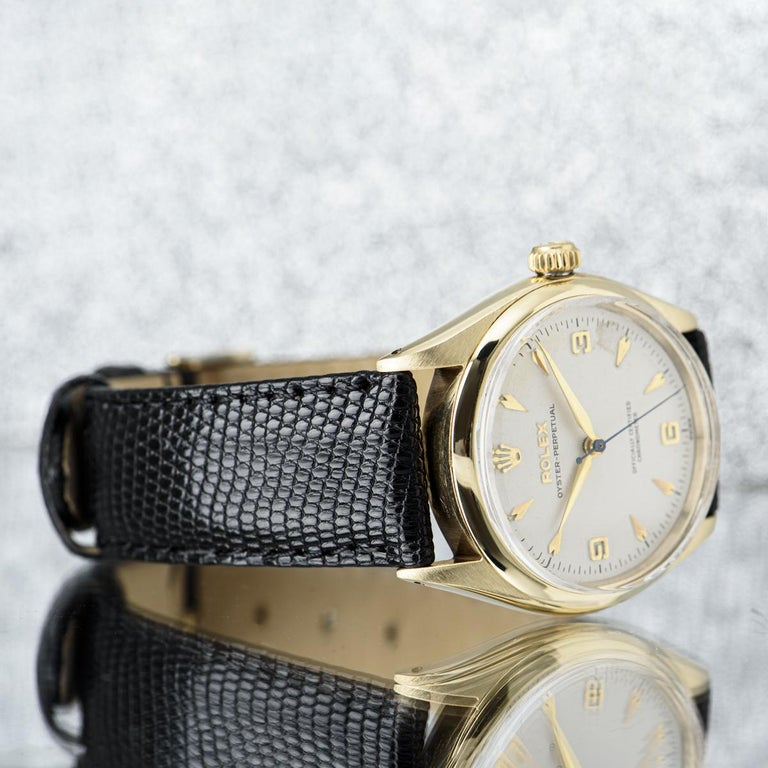Vintage Rolex Oyster Perpetual 9k Yellow Gold 6564 Watch For Sale 4