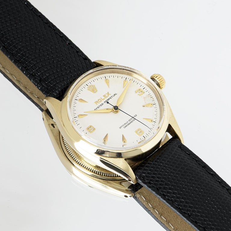 Vintage Rolex Oyster Perpetual 9k Yellow Gold 6564 Watch For Sale 5