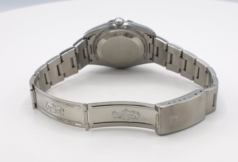 Vintage Rolex Oyster Perpetual Date Steel Watch Model 15200 Box & Papers For Sale 6