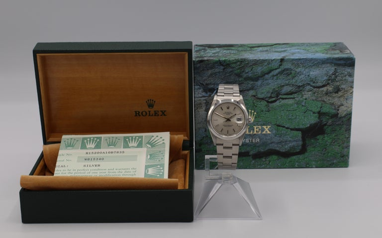 Vintage Rolex Oyster Perpetual Date Steel Watch Model 15200 Box & Papers For Sale 7
