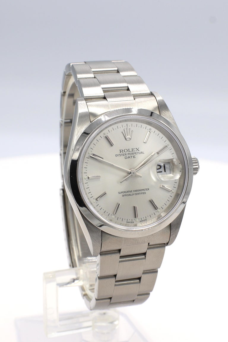 Vintage Rolex Oyster Perpetual Date Steel Watch Model 15200 Box & Papers In Excellent Condition For Sale In  Baltimore, MD