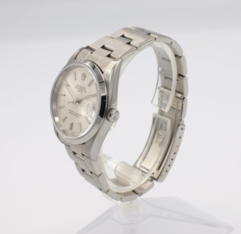 Women's or Men's Vintage Rolex Oyster Perpetual Date Steel Watch Model 15200 Box & Papers For Sale