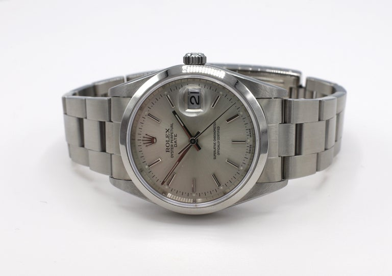 Vintage Rolex Oyster Perpetual Date Steel Watch Model 15200 Box & Papers For Sale 1