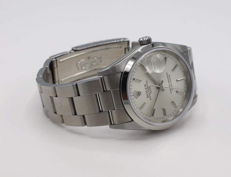 Vintage Rolex Oyster Perpetual Date Steel Watch Model 15200 Box & Papers For Sale 2