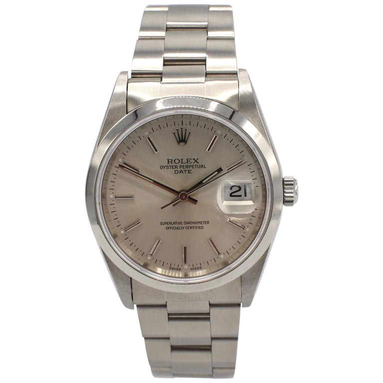 Vintage Rolex Oyster Perpetual Date Steel Watch Model 15200 Box & Papers For Sale