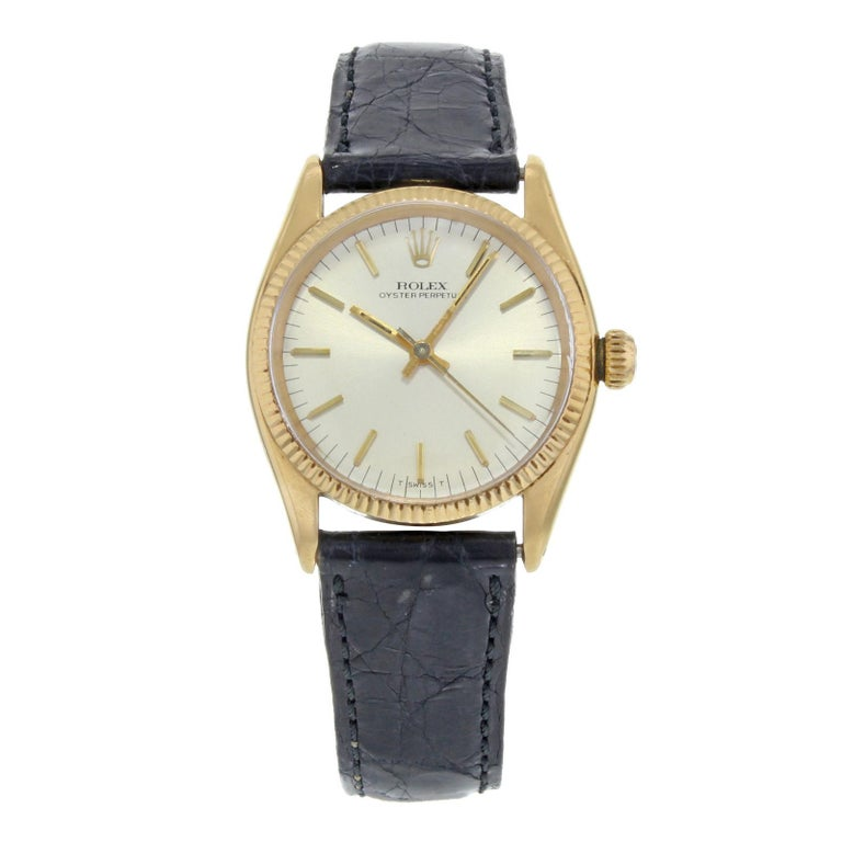 Vintage Rolex Oyster Perpetual Silver Dial 14 Karat Gold Ladies Watch 6551  For Sale 0bcecd380a