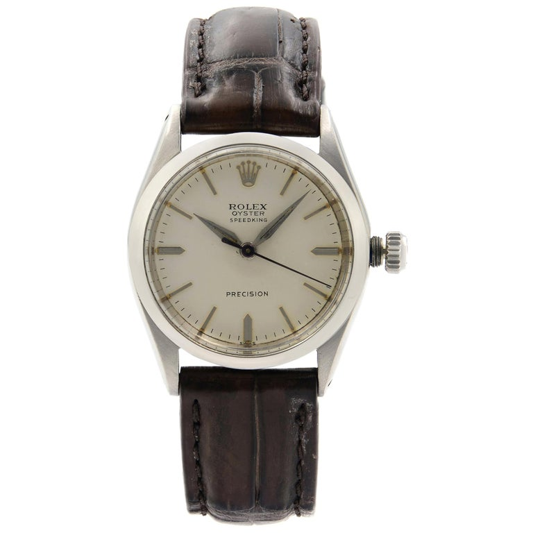 Vintage Rolex Oyster Speed King Precision Steel Silver Dial Hand Wind Watch For Sale