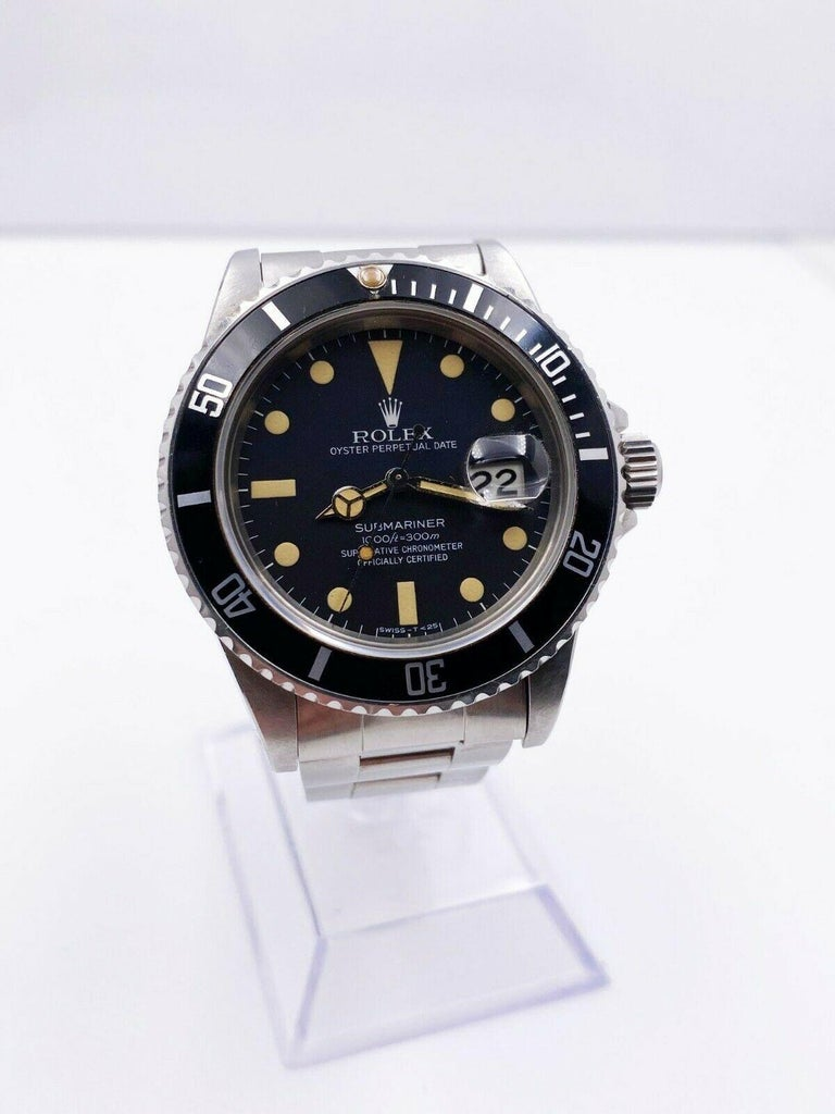 Vintage Rolex Submariner 16800 Stainless Black Dial 1982 In Excellent Condition For Sale In San Diego, CA