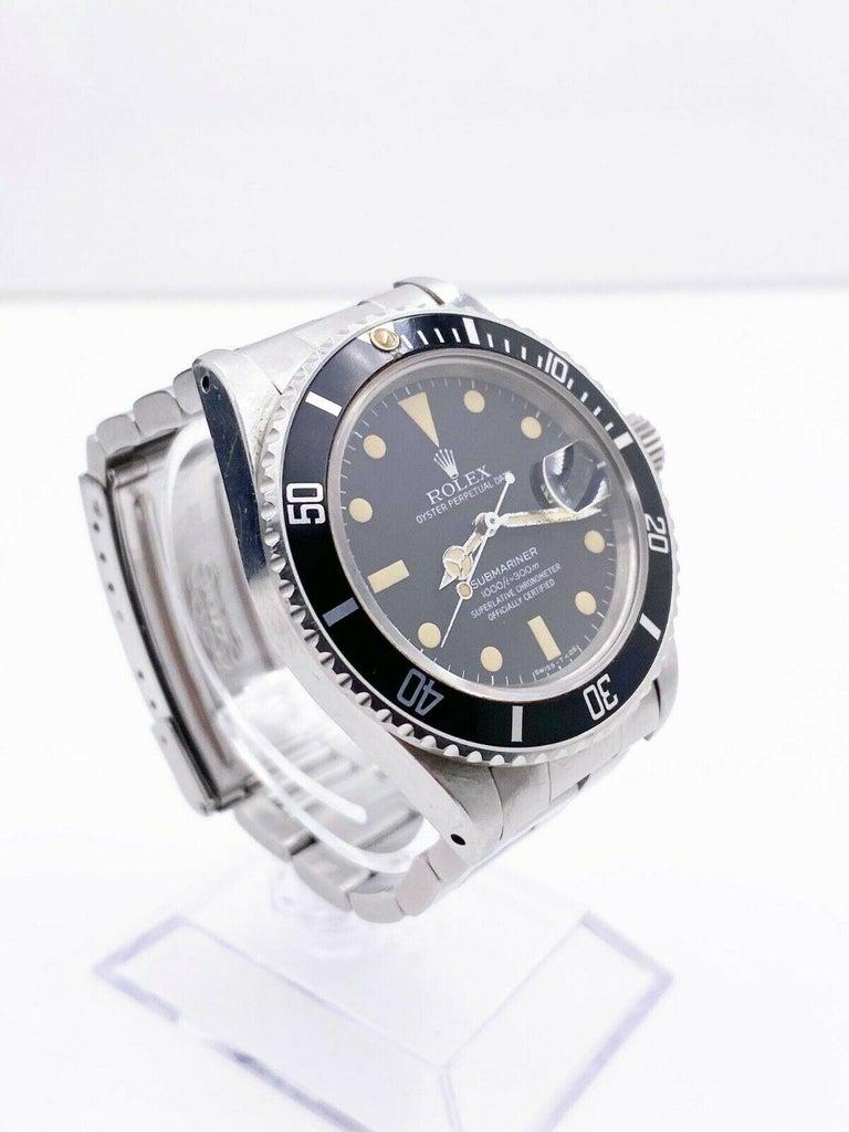 Men's Vintage Rolex Submariner 16800 Stainless Black Dial 1982 For Sale