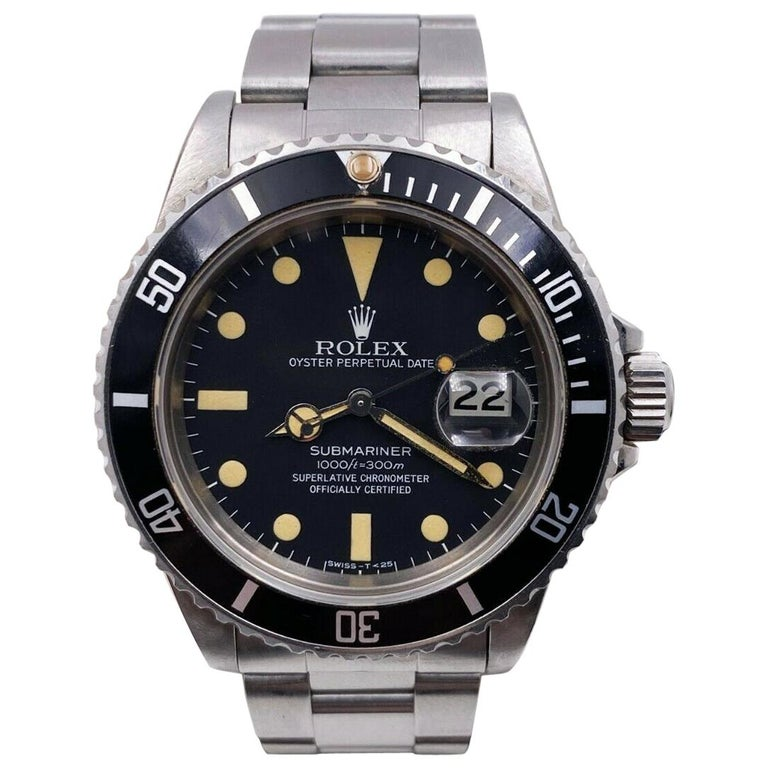 Vintage Rolex Submariner 16800 Stainless Black Dial 1982 For Sale