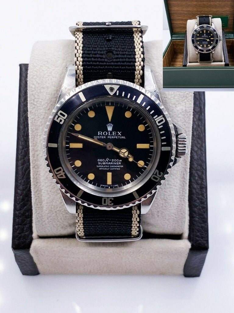 Vintage Rolex Submariner 5512 Matte Pumpkin Dial 4 Line Stainless Steel with Box In Good Condition For Sale In San Diego, CA