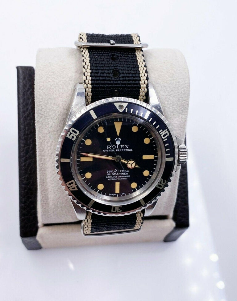 Women's or Men's Vintage Rolex Submariner 5512 Matte Pumpkin Dial 4 Line Stainless Steel with Box For Sale