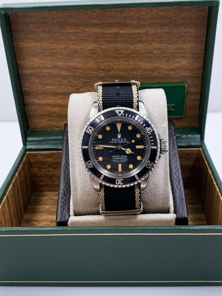 Vintage Rolex Submariner 5512 Matte Pumpkin Dial 4 Line Stainless Steel with Box For Sale 4