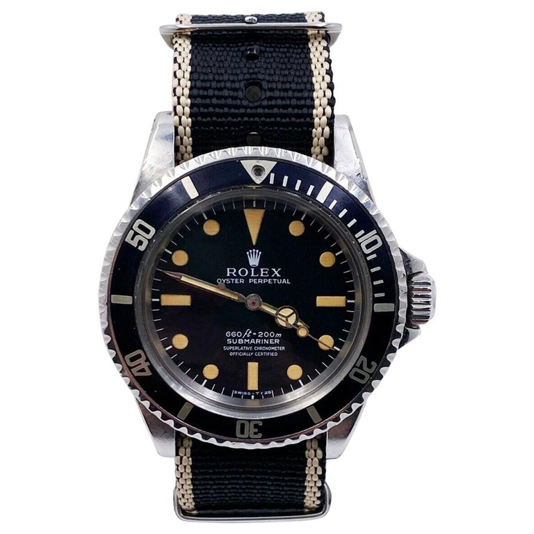Vintage Rolex Submariner 5512 Matte Pumpkin Dial 4 Line Stainless Steel with Box For Sale