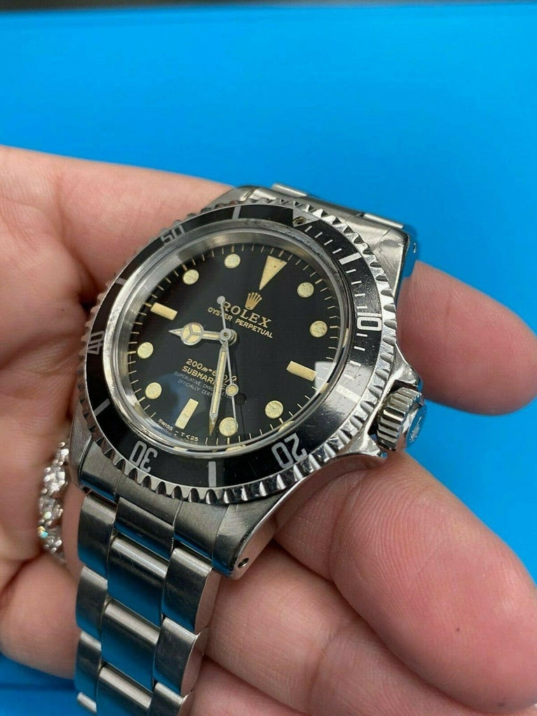 Men's Vintage Rolex Submariner 5512 Stainless Steel Black Dial 1964 Glossy Dial For Sale