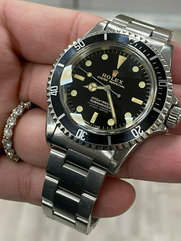 Vintage Rolex Submariner 5512 Stainless Steel Black Dial 1964 Glossy Dial For Sale 1