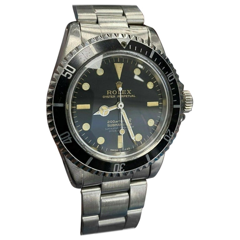 Vintage Rolex Submariner 5512 Stainless Steel Black Dial 1964 Glossy Dial For Sale