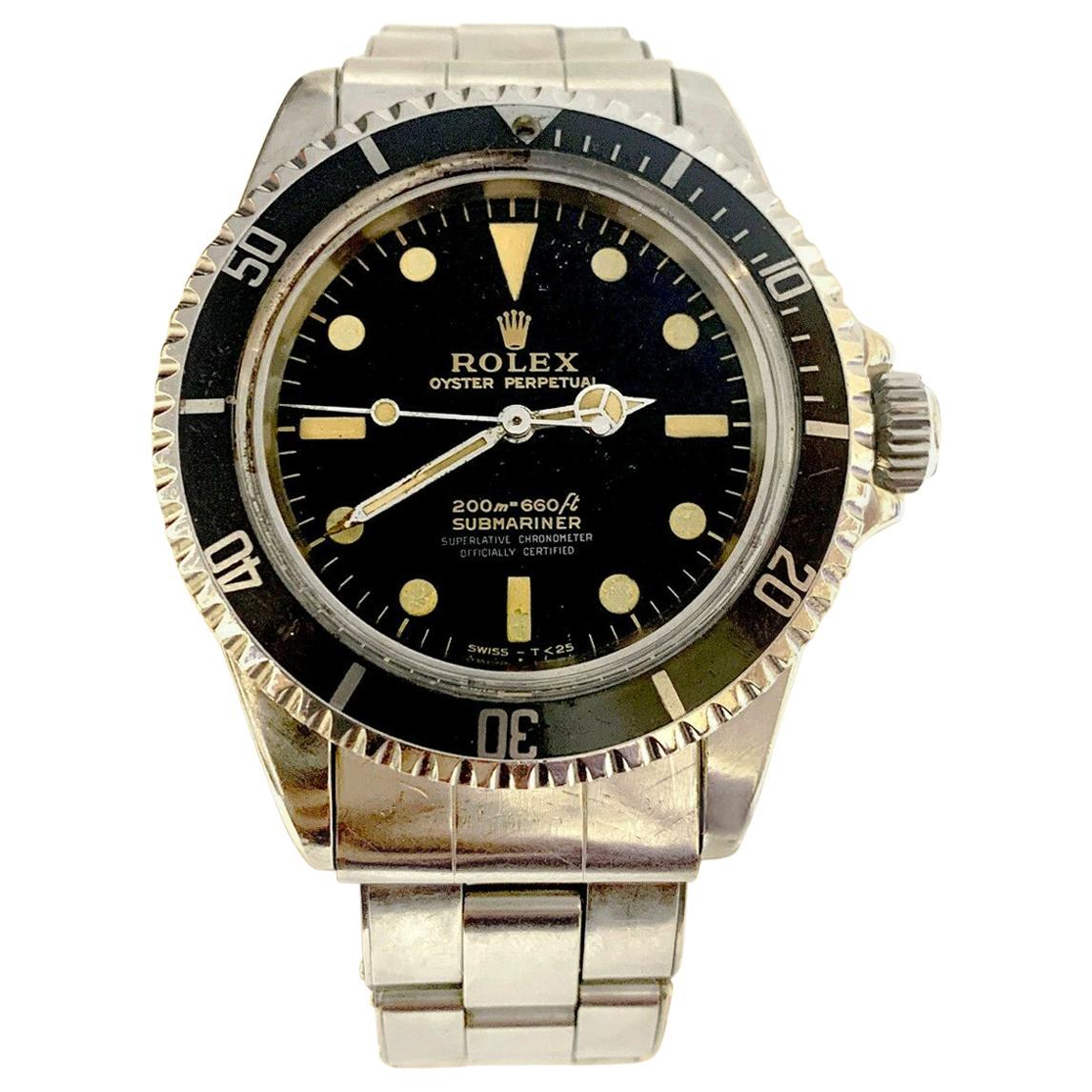 Vintage Rolex Submariner 5512 Stainless Steel Black Dial 1964 Glossy Gilt Dial