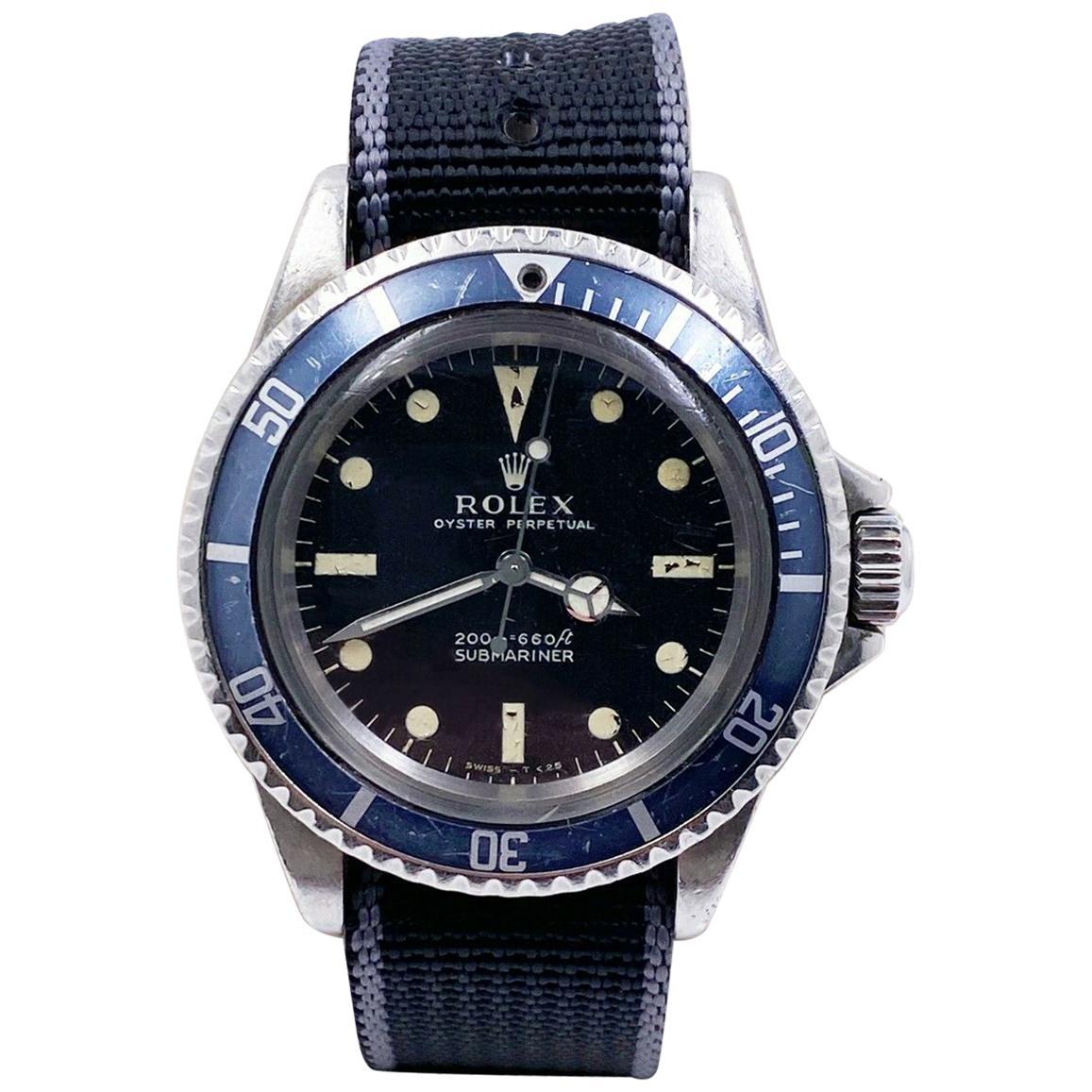Vintage Rolex Submariner 5513 Black Matte Dial Stainless Steel, 1969
