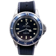 Vintage Rolex Submariner 5513 Black Matte Dial Stainless Steel, 1969