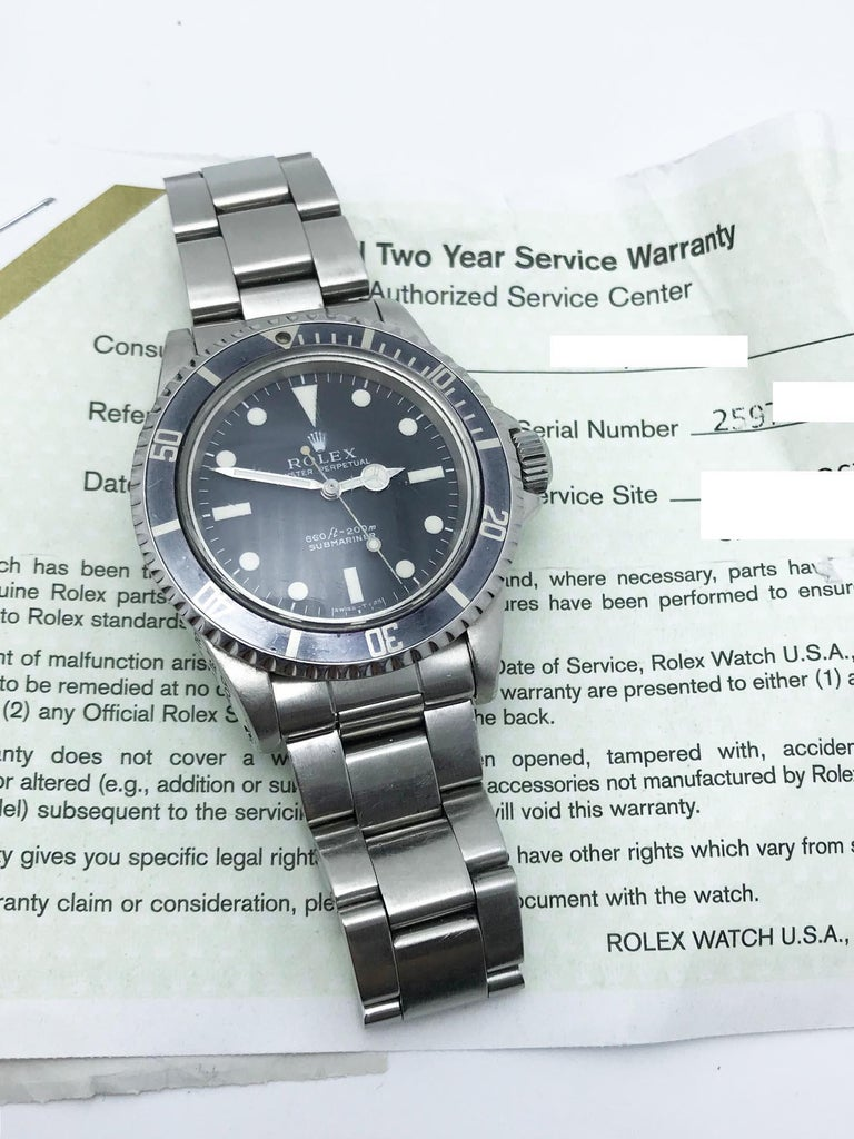 Vintage Rolex Submariner 5513 Stainless Steel Service Papers 1969 In Good Condition For Sale In San Diego, CA