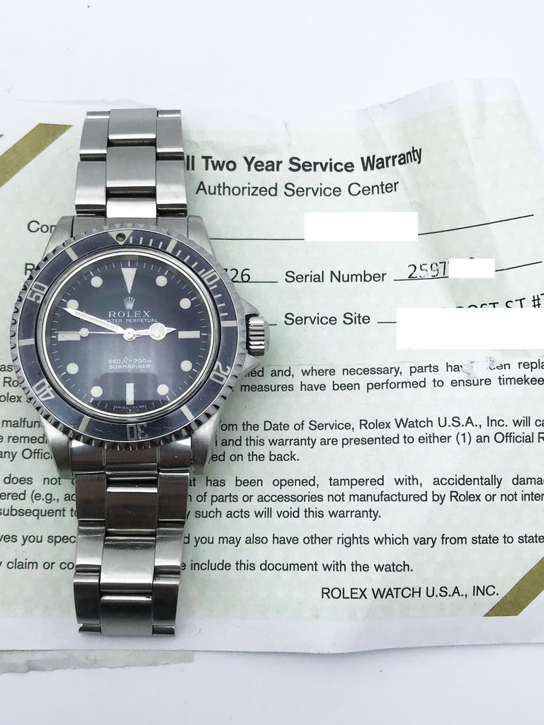 Men's Vintage Rolex Submariner 5513 Stainless Steel Service Papers 1969 For Sale