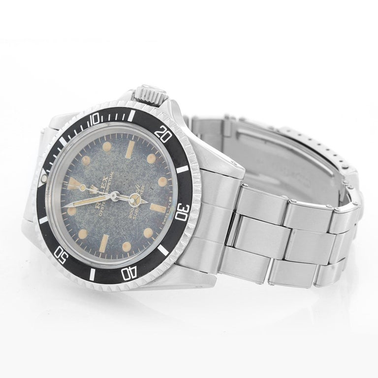 Vintage Rolex Submariner Gilt Dial Men's Automatic Watch 5513 - Automatic winding; acrylic crystal. Stainless steel case (41mm diameter). Black dial with all gilt lettering. Rolex Steel Bracelet. Pre-owned, vintage, ca. late 60's. Pre-owned with