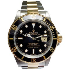 Vintage Rolex Submariner Stainless Steel and 18 Karat Gold, Black Dial/Bezel