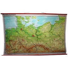 Vintage Rollable Map Northern Germany Poland Seaside Wallchart Baltic Sea