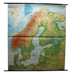 Vintage Rollable Map Wall Chart Print Scandinavia Norway Sweden Finland