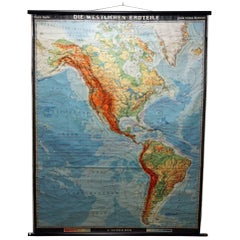 Vintage Rollable Map Western Part of the World Americas