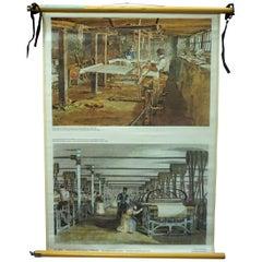 Vintage Rollable Wallchart the Industrial Revolution Weaving Loom