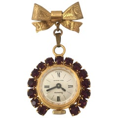 Vintage Rolled Gold Mechanical Brooch Nurse's Watch