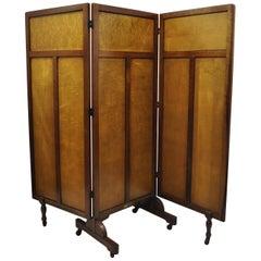 Vintage Rolling 3-Panel Wood Folding Doctors Office Dressing Screen Room Divider