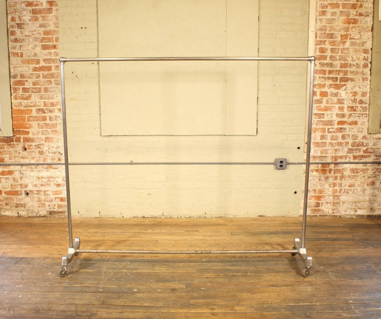 Vintage Rolling Garment Rack, Clothing Coat Stand Art Deco In Distressed Condition For Sale In Oakville, CT
