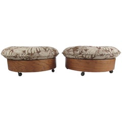 Vintage Rolling Ottoman or Table, a Pair