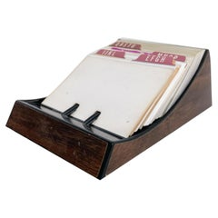 Vintage Rolodex Petite File Tray Card in Faux Wood Midcentury Classic, 1970s