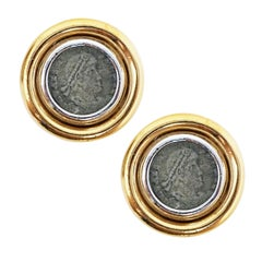 Vintage Roman Coin Gilt Button Earrings by Ciner