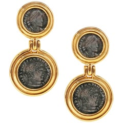 Vintage Roman Coin Gilt Statement Drop Earrings by Ciner