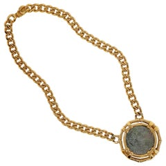 Vintage Roman Coin Gilt Statement Necklace by Ciner